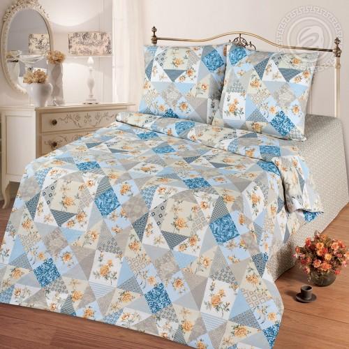 Лоскутная мозайка Голубой (Бязь ПРЕМИУМ)