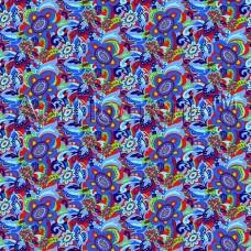 Плательная ткань Калейдоскоп (синий)