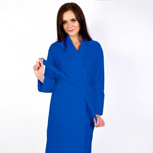 Синий халат запашной с воротником