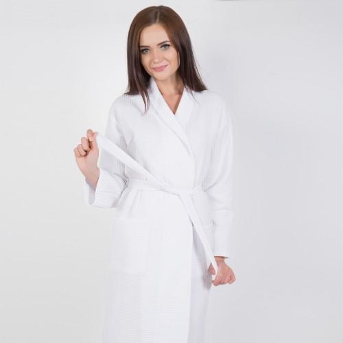 Белый халат запашной с воротником