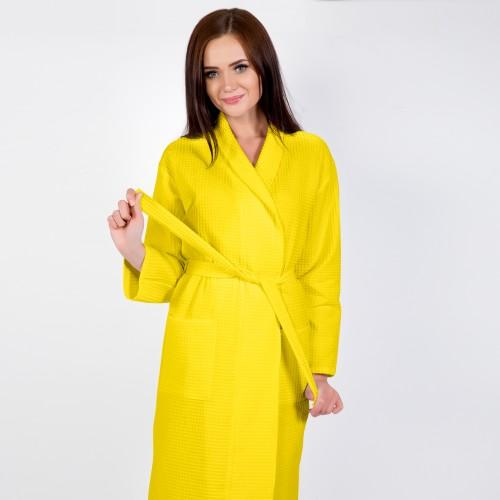 Желтый халат запашной с воротником