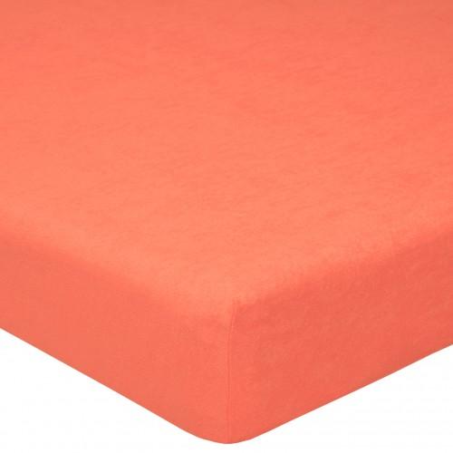 Персик махровая простынь
