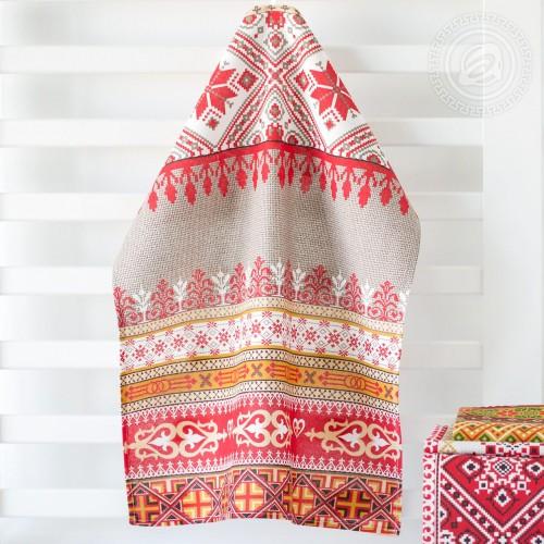 Домашний очаг Красный (Полотенца из рогожки)