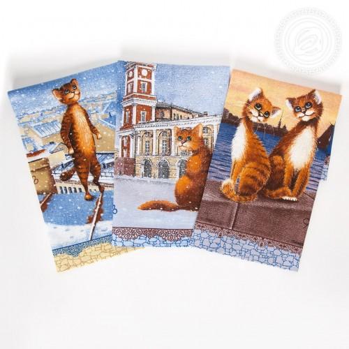 Питерский коты (Полотенца из рогожки)