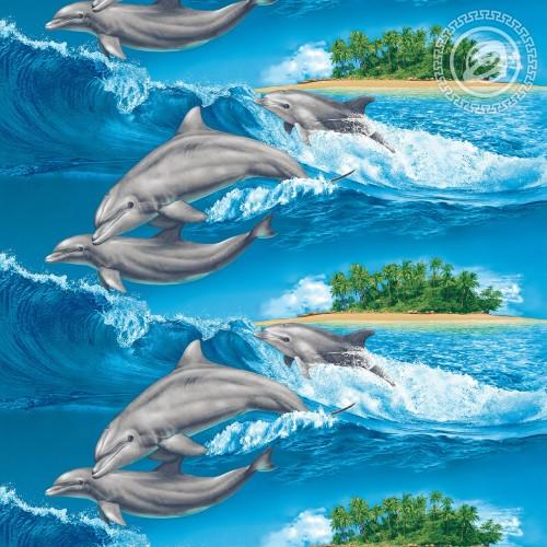 Игривые дельфины (Вафельное полотно)